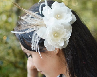 Bridal Silk Hair Flowers, Bridal Hair Flower, Ivory Flower and Feather Headpiece