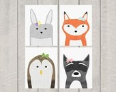 Woodland Nursery Art Print Set - Woodland Bows