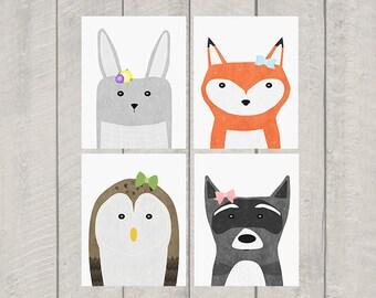 Woodland Nursery Art Print Set - Woodland Bows