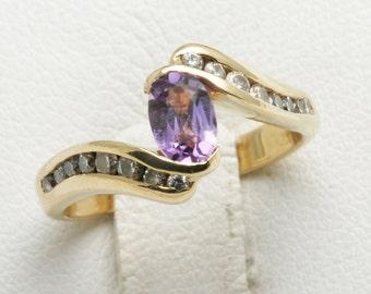 Vintage 14k yellow gold purple Amethyst diamond swirl ring Oval Estate