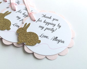 Pink and Gold BUNNY Scallop Tag.  Personalized Favor Tags for Baby or Bridal Shower, Birthday, Baptism or Wedding. Some Bunny is One.  6CT