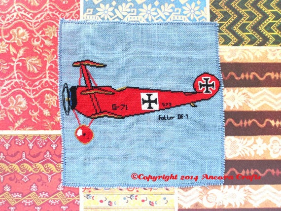 Fokker DR-I WWI Airplane Cross Stitch Pattern PDF