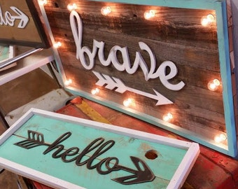 BIG Vintage Inspired BRAVE or HELLO Light Marquee Sign Custom… Home Decor Family Room Bedroom Wedding Anniversary Birthday
