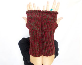 Long Fingerless Gloves, Burgundy green, Mittens, Hand knit fingerless gloves, Gift ideas for her, Boho knit glove, Knit gloves