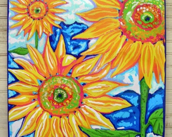"Summer sunflowers by Florida artist  Kim McCoy  20""x 20"" Giclee on canvas Key west style,country living"
