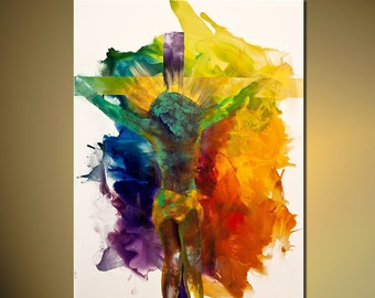 """Jesus Print Colorful 36""""X27""""  on Canvas Stretched Ready To Hang & embellished (brush strokes are added by the artist) Osnat"""