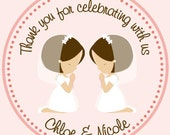 First Communion Twins/Siblings/Cousins Favor Tags - Tags Only