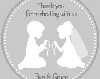 First Communion Twins Favor Tags - First Communion Favors - First communion for siblings - Twins First Communion Favors