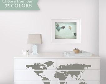 Map Dresser Makeover - Dresser Decals designed to fit Malm Ikea Dresser - Ikea Hack - Travel Theme Nursery
