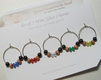 Wine Glass Charms For Your Special Party or Event - Set of 5