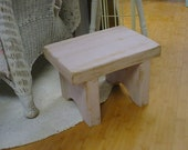 Rustic Painted Footstool Pink Farmhouse Cottage Chic