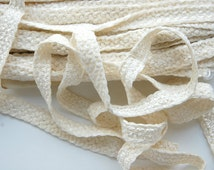 Vintage French trim, French chenille trim, winter white trim, white chenille braid, sewing supplies, French passementerie, craft supplies