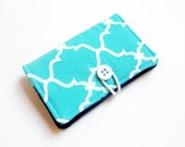 Turquoise Aztec Geometric Fabric Business Card Holder, with Solid Navy - Credit Card Holder, Cloth Card Holder, Gift Card Holder