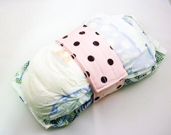 Pink Diaper Strap - Pink with Brown Dots