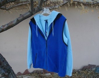 Special Needs Custom Clothing Two Tone Blue Soft Warm Hoodie Backwards Jacket Handicapped Accessible Clothing