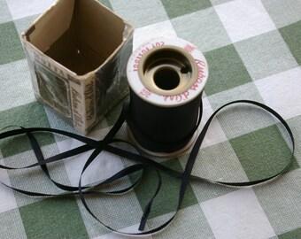 10 Yards Ruban d'Art Black Knitting Crocheting Hand Weaving Art Ribbon Vintage Acetate Taffeta Craft Ribbon