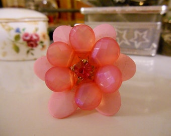 Vintage Faceted Shades of Pink Lucite Flower Ring with Prong Set Pink Rhinestone Center ~ Adjustable 1970's