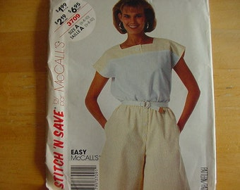 Vintage 1990s McCalls Stitch 'N Save Pattern 3709  Misses' Top and Shorts , Size A (6-8-10), UNCUT