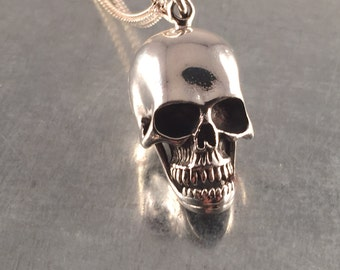 Skull Locket Necklace, Skull Necklace, Skeleton Locket Necklace, Sterling Silver Locket Necklace, Sterling Locket, Skull, Holiday Gift