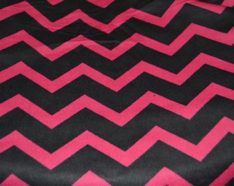Hot Pink/Black Chevron Snuggle Flannel Fabric all Cotton 1 yard or more Sewing Quilting