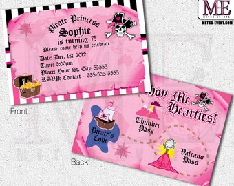 Pink Pirate Birthday Invitations