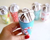 Printable Mini Hot Chocolate Cup Gift box, stocking stuffer, holiday party favor, gift wrap