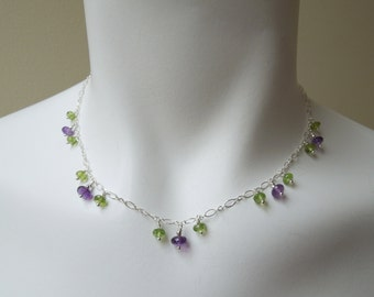 Dancing Violets Gemstone Necklace: Peridot- Amethyst- Sterling Silver Chain- February Birthstone- August Birthstone- Layered Necklace