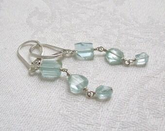 Asymmetrical Gemstone Drop Earrings: Ice Blue Aquamarines, Sterling Silver, March Birthstone, Birthstone Earrings