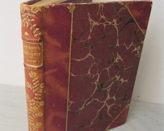 "Vintage Leather Bound Poetry Book - Burns's ""Chloris"", A Reminiscence with The Song of Death- 1893 - Rare"