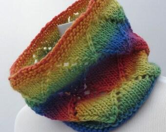 Handknit rainbow cowl