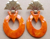 bold 80s vintage art deco revival pierced over sized orange marbled and gold acrylic disco earrings for festival wear