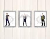 Supernatural Set of 3 Prints, Digital Illustration, Art Print, Illustration, Original Artwork, Fanart, Dean Winchester, Sam Winchester, Cas