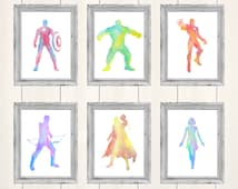 Avengers Prints, Set of 6, Avengers Art, Watercolour Art, Avengers Fanart