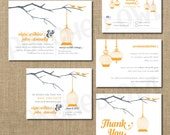 Two Birds on a Tree Branch Wedding Invitation - RSVP - Enclosure card - Save the Date - Thank you card - Digital File