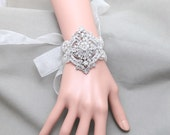 Vintage Style Wedding Bridal Jewelry Rhinestone Crystals Applique Organza Ribbon Bracelet Bangle, Flower Bouquet Wrap
