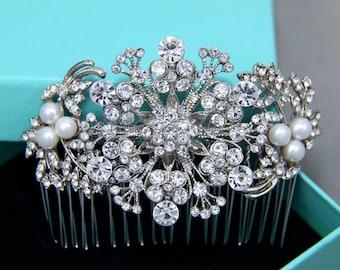 Vintage Style Flowers Leafs Hair Comb, Bridal Wedding Hair Comb Headpiece, Freshwater Pearl Rhinestone Crystals Wedding Hair Accessory