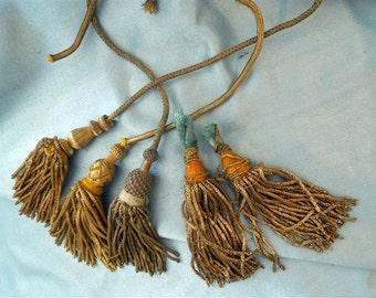 5 Antique French Gold Metallic Tassels Passementerie