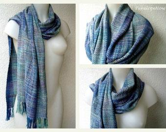 Handwoven  Silk / Cotton Blue Scarf  / Wrap / Shawl, Handmade by Me, Unique