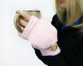 Wild Rose Mittens, Pink Alpaca Mittens, Convertible Mittens, Fingerless Gloves, Crochet Mittens, Autumn Accessories,Fall Mittens,Fall Gloves