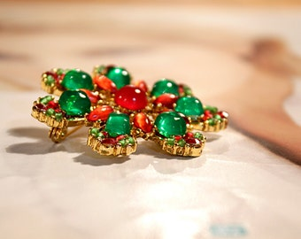 Holiday Brooch Jewelry, Vintage Red and Green Brooch, Special for Holiday and New Year Festivities, Jewelry for Women, Vintage Brooch,Unique