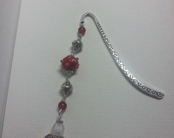 Metal bookmark with red  beads