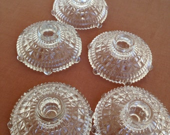Lovely Vintage GLASS stars and Bars  candle holders Set of five