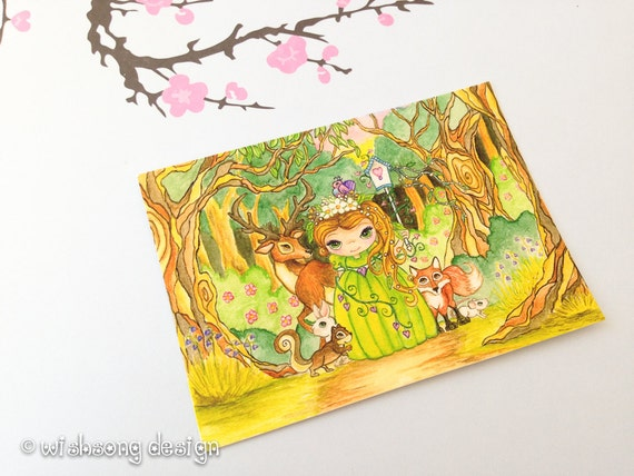 """Whimsical Princess Painting, forest friends animals, girls art, aceo painting, miniature art """"Forest Princess"""" Aceo Print 2.5 x 3.5 inches"""