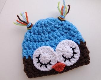 Ready to Ship, Newborn Owl Hat, Baby Girl, Baby Boy, Sleepy Owl Hat, Photo Prop