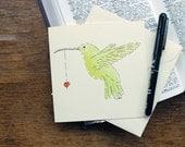 Hand Drawn Greeting Card - Blank Greeting Card - Hummingbird Painting