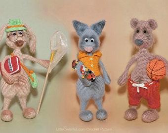 062 Hare, Bear and Cat with accessories  - Crochet Pattern PDF file Amigurumi by Borisenko Etsy