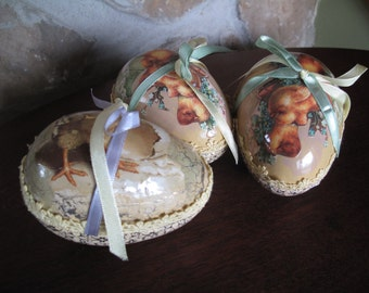 3 Large Paper Mache Eggs, Paper Mache Boxes, Easter, Gift Boxes, Treat Box  Chicks, Opening, Tied w/ Ribbon, Lace Trimmed, Handmade, Pastel,