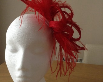 Red Large Sinamay and Feather Fascinator, on a comb. Weddings, Races, Proms, Kentucky Derby, Ascot, Melbourne Cup