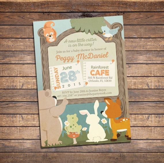 woodland baby shower invitation by the party stork catch my party