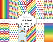 Rainbow 12 Piece Digital Backgrounds - Colorful, Scrapbook Paper, Multicolor, Cheerful, Stripes, Dots, Chevron, Bright, Sky, Primary Colors